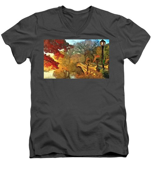 The Bow Bridge Nyc  Men's V-Neck T-Shirt by Maciek Froncisz
