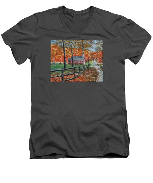 The Brick Country Schoolhouse Men's V-Neck T-Shirt by Mike Caitham
