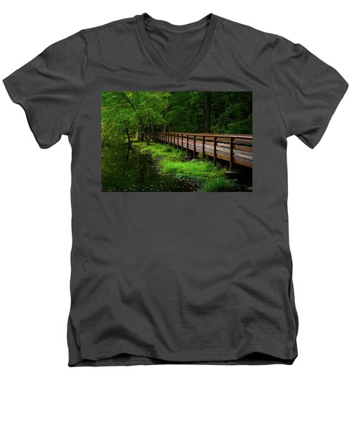 Men's V-Neck T-Shirt featuring the photograph The Bridge At Wolfe Park by Karol Livote