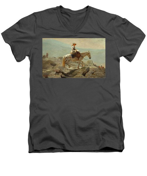 Men's V-Neck T-Shirt featuring the painting The Bridle Path, White Mountains - 1868 by Winslow Homer