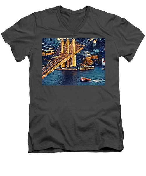 Men's V-Neck T-Shirt featuring the photograph The Brooklyn Bridge At Sunset   by Sarah Loft