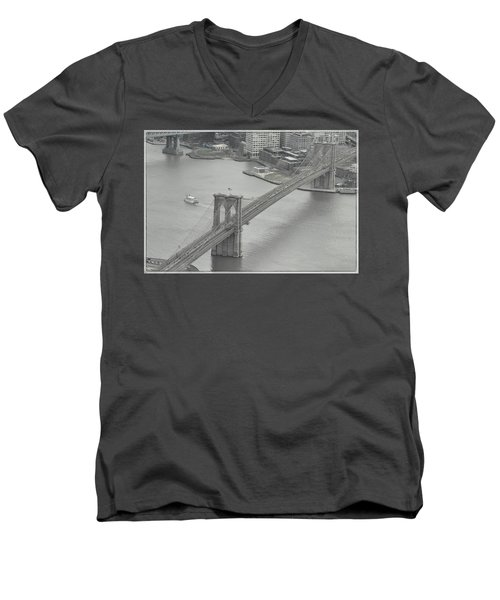 The Brooklyn Bridge From Above Men's V-Neck T-Shirt by Dyle Warren