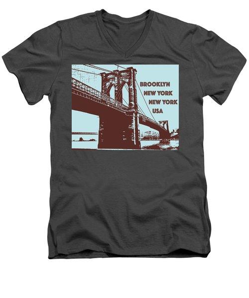 The Brooklyn Bridge, New York, Ny Men's V-Neck T-Shirt