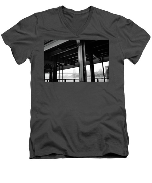 The Brooklyng Bridge And Manhattan Bridge From Fdr Drive Men's V-Neck T-Shirt