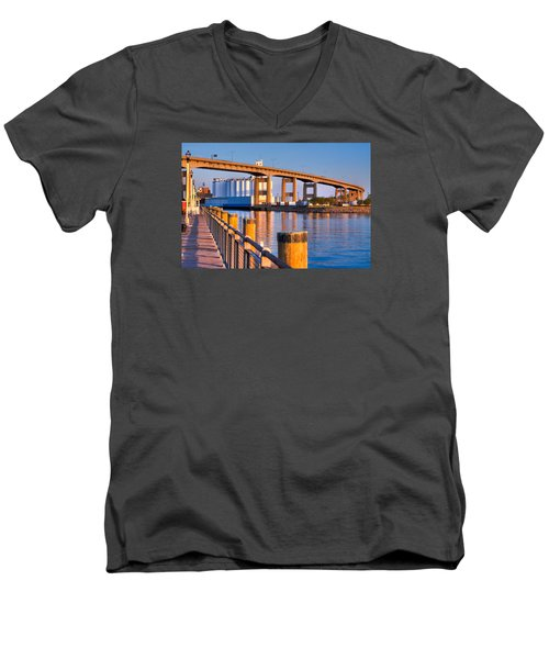 The Buffalo Skyway Men's V-Neck T-Shirt by Don Nieman