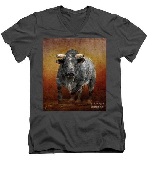 The Bull Men's V-Neck T-Shirt by Jim  Hatch