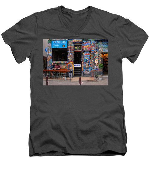The Bulldog Of Amsterdam Men's V-Neck T-Shirt by Allen Beatty