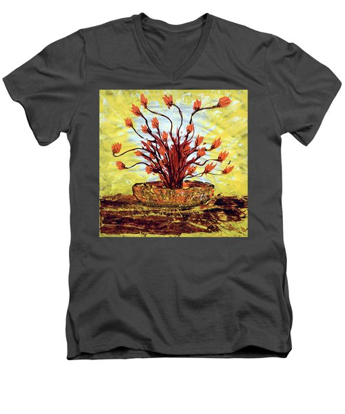 Men's V-Neck T-Shirt featuring the painting The Burning Bush by J R Seymour