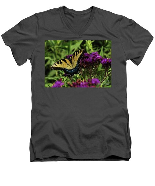 Men's V-Neck T-Shirt featuring the photograph The Butterfly Buffet by J L Zarek