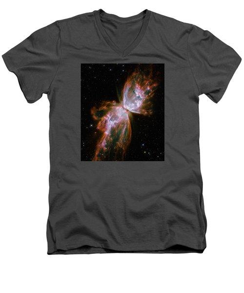The Butterfly Nebula  Men's V-Neck T-Shirt by Hubble Space Telescope