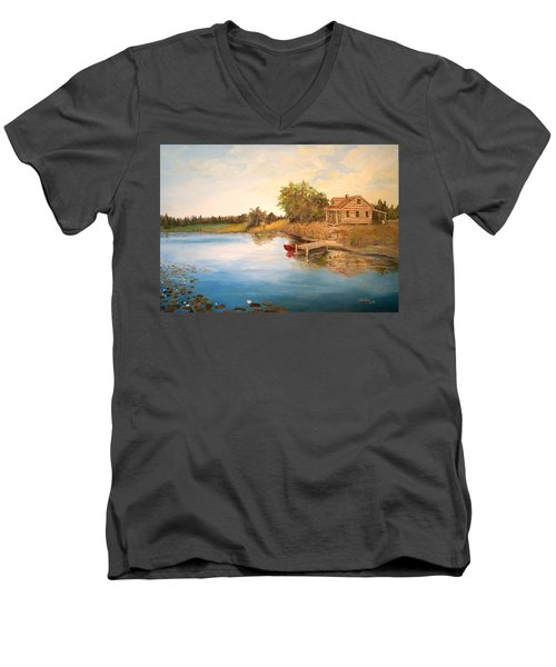 Men's V-Neck T-Shirt featuring the painting The Cabin by Alan Lakin