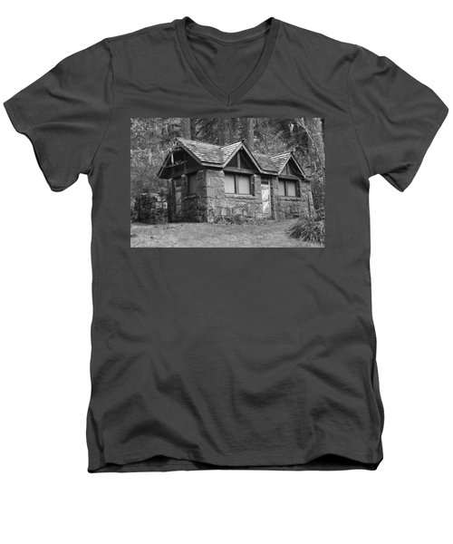 Men's V-Neck T-Shirt featuring the photograph The Cabin by Angi Parks