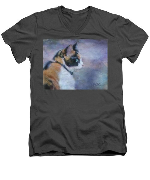 Men's V-Neck T-Shirt featuring the digital art The Calico Staredown  by Colleen Taylor