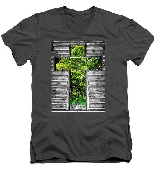 The Carpenters Cross Men's V-Neck T-Shirt by Daniel Thompson