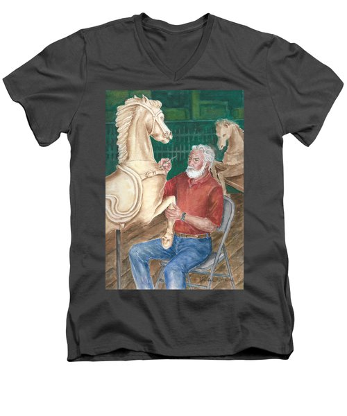 The Carver And His Horse Men's V-Neck T-Shirt