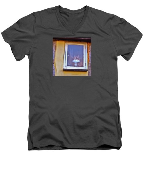 The Cat In The Window Men's V-Neck T-Shirt by Anne Kotan