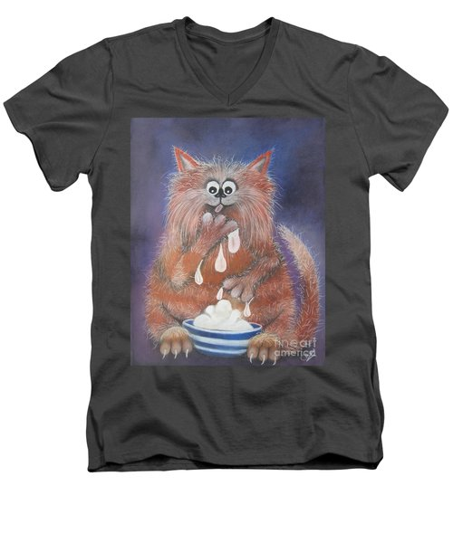 The Cat Who Got The Cream Men's V-Neck T-Shirt