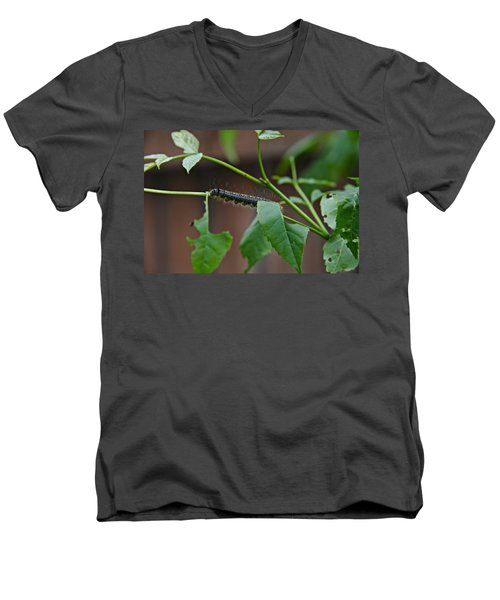 Men's V-Neck T-Shirt featuring the photograph The Caterpillar 2 by Cendrine Marrouat