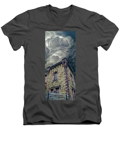 Men's V-Neck T-Shirt featuring the photograph The Cell Block Restaurant by Greg Reed