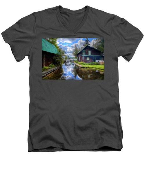 Men's V-Neck T-Shirt featuring the photograph The Channel At Palmer Point by David Patterson