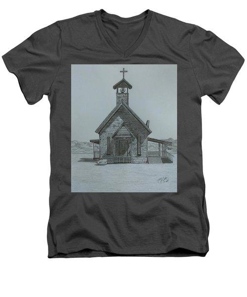 The Chapel  Men's V-Neck T-Shirt by Tony Clark