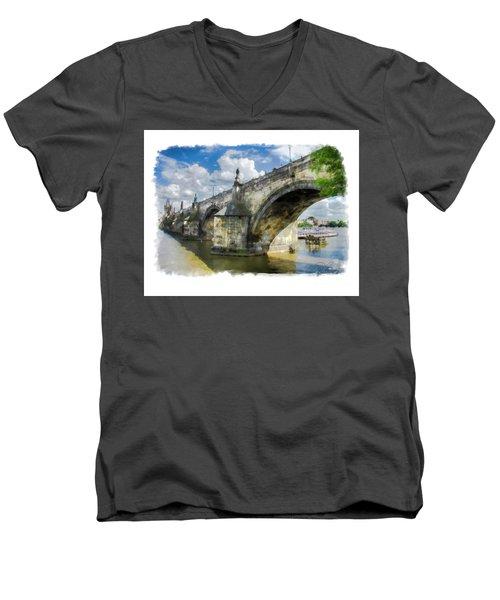 The Charles Bridge - Prague Men's V-Neck T-Shirt by Tom Cameron