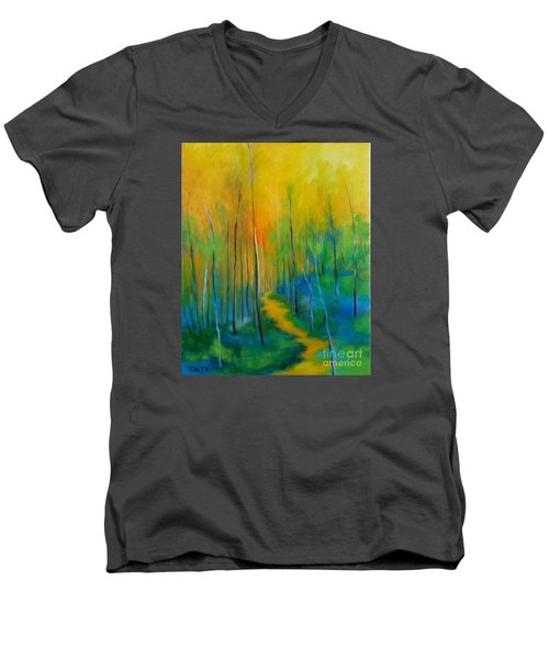 Men's V-Neck T-Shirt featuring the painting The Chosen Path  by Alison Caltrider