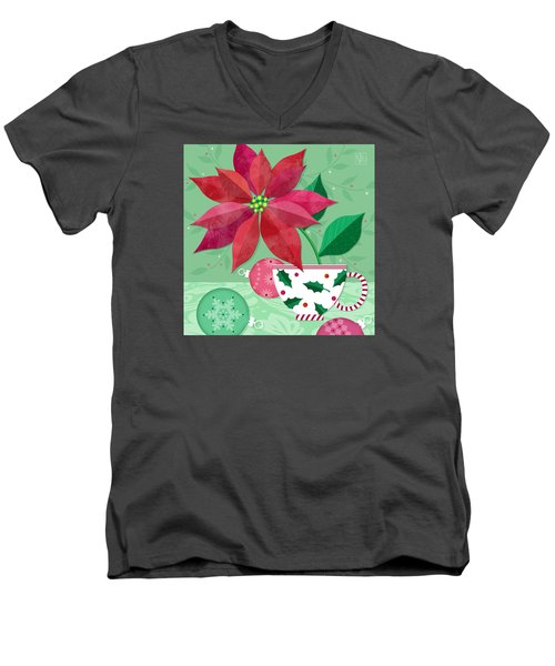The Christmas Poinsettia Men's V-Neck T-Shirt