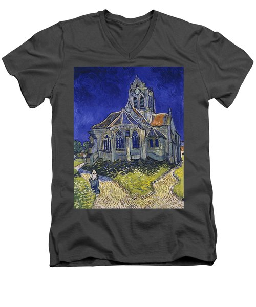 Men's V-Neck T-Shirt featuring the painting The Church At Auvers by Van Gogh