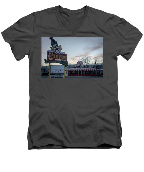 Men's V-Neck T-Shirt featuring the photograph The Circus Drive In Wall Township Nj by Terry DeLuco