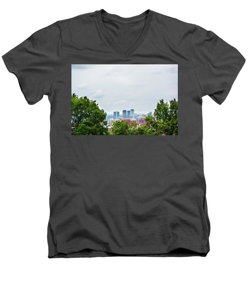Men's V-Neck T-Shirt featuring the photograph The City Beyond by Shelby Young