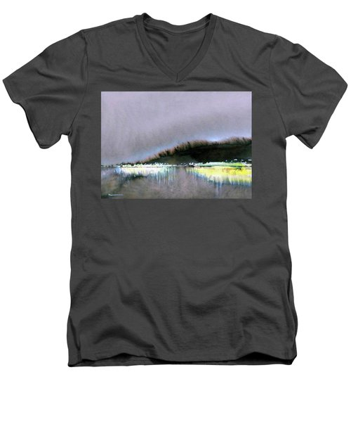 Men's V-Neck T-Shirt featuring the painting The City Lights by Ed Heaton