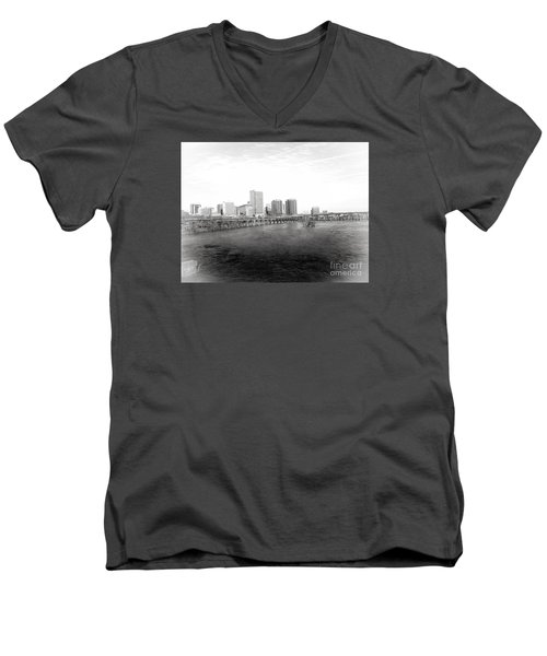 The City Of Richmond Black And White Men's V-Neck T-Shirt by Melissa Messick