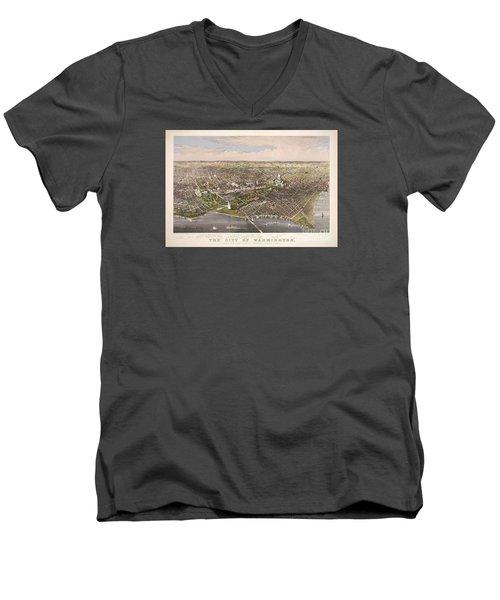 The City Of Washington Men's V-Neck T-Shirt by Charles Richard Parsons
