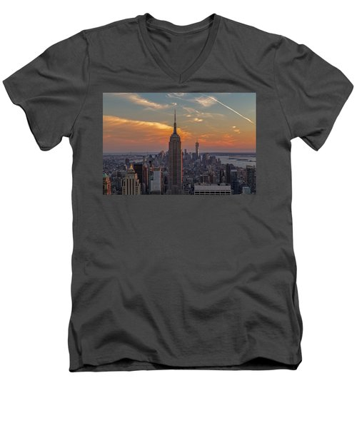 The City That Never Sleeps  Men's V-Neck T-Shirt by Anthony Fields
