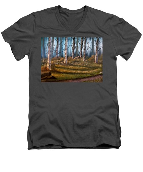 Men's V-Neck T-Shirt featuring the painting The Clearing by Sheri Keith