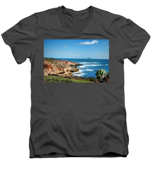 Men's V-Neck T-Shirt featuring the photograph The Cliffs Of Point Loma by Daniel Hebard