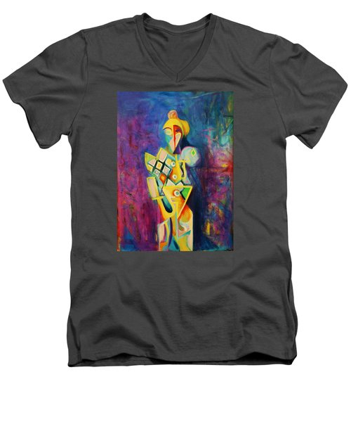 Men's V-Neck T-Shirt featuring the painting The Clown by Kim Gauge