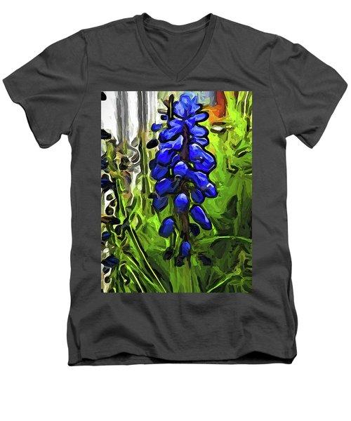 The Cobalt Blue Flowers And The Long Green Grass Men's V-Neck T-Shirt