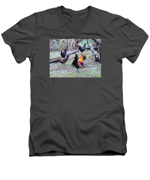 The Cock-walk Men's V-Neck T-Shirt by Donna Dixon