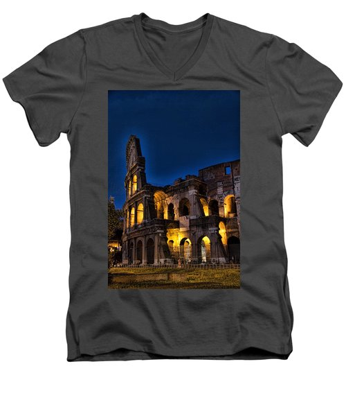 The Coleseum In Rome At Night Men's V-Neck T-Shirt by David Smith