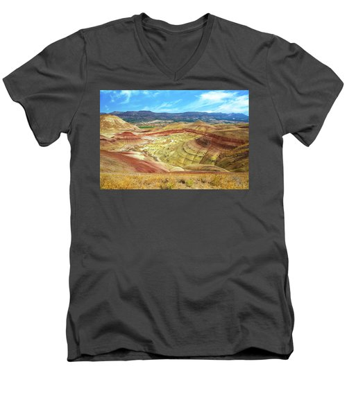 The Colorful Painted Hills In Eastern Oregon Men's V-Neck T-Shirt