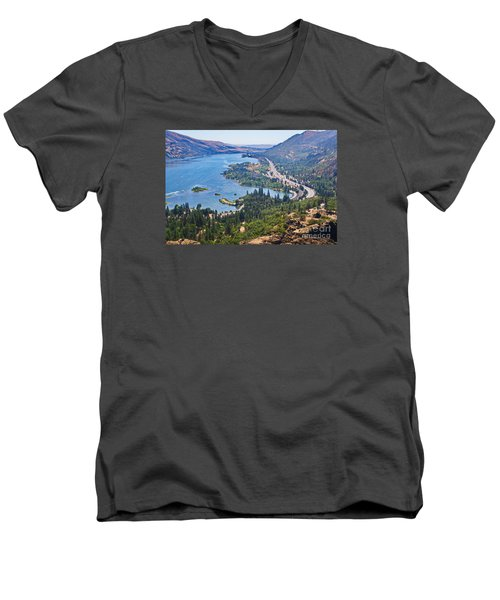 The Columbia River In The Gorge Men's V-Neck T-Shirt by Ansel Price