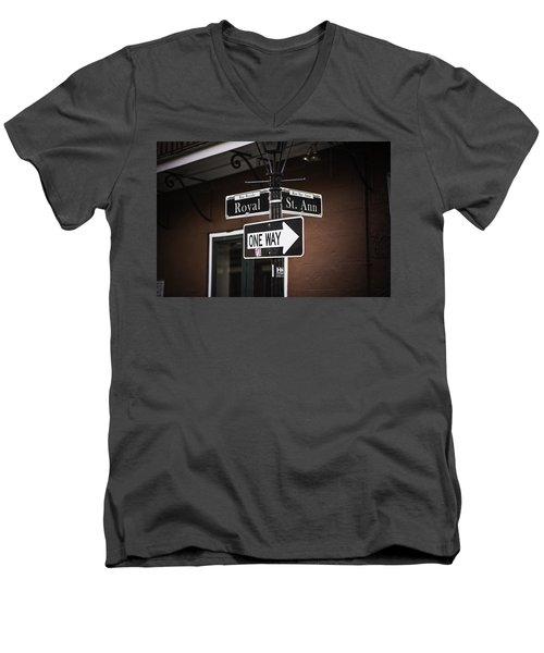 The Corner Of Royal And St. Ann, New Orleans, Louisiana Men's V-Neck T-Shirt