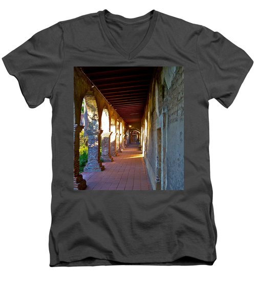 The Corridor By The Serra Chapel San Juan Capistrano Mission California Men's V-Neck T-Shirt by Karon Melillo DeVega