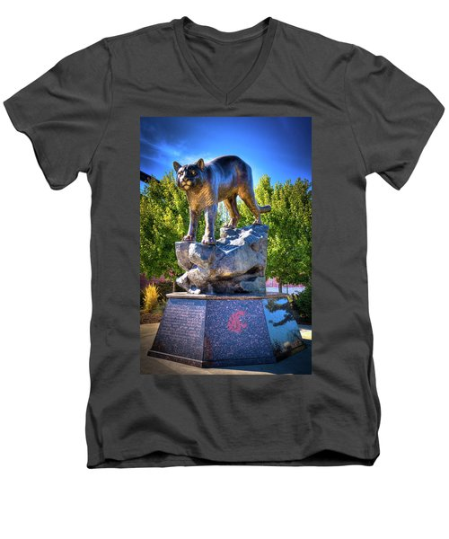 The Cougar Pride Sculpture Men's V-Neck T-Shirt by David Patterson