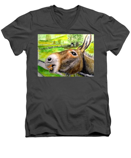 The Country Mule Men's V-Neck T-Shirt by Carol Grimes