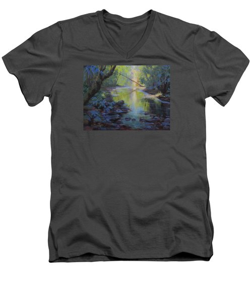 Men's V-Neck T-Shirt featuring the painting The Creek by Karen Ilari