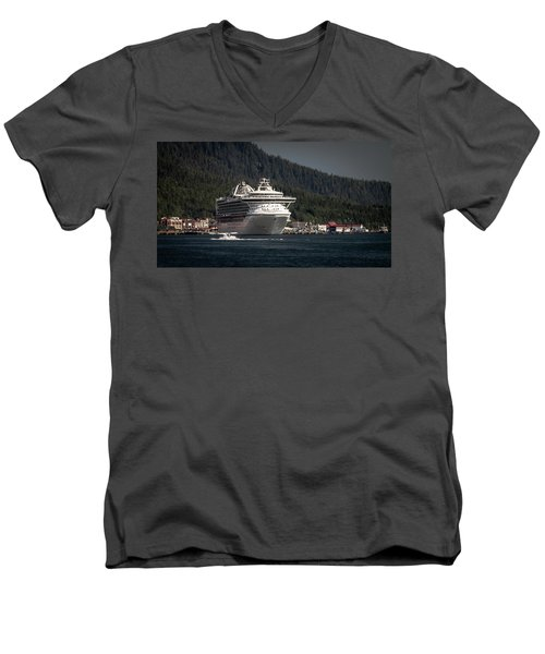 Men's V-Neck T-Shirt featuring the photograph The Cruise Ship And The Plane by Timothy Latta