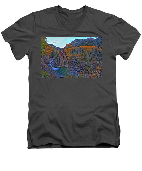 Men's V-Neck T-Shirt featuring the photograph The Crystal Mill by Scott Mahon
